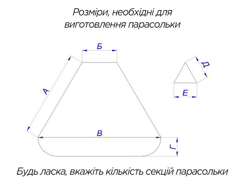 розміри для виготовлення парасольки